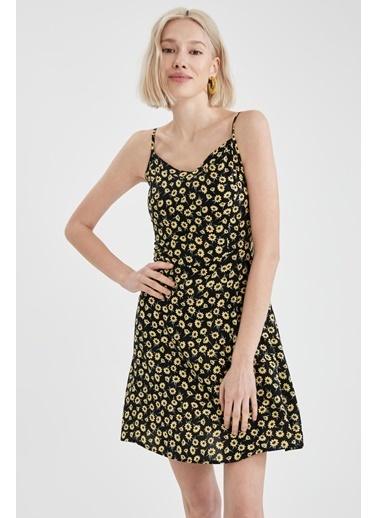 DeFacto Çiçekli V Yaka Ayarlanabilir Askılı Elbise Siyah